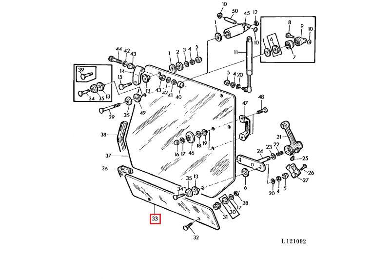 cristal trasero inferior tractor john deere s  40
