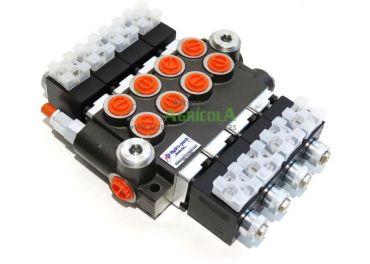 """Distribuidor Hidráulico eléctrico 4 cuerpos 3/8"""" doble efecto circuito abierto"""