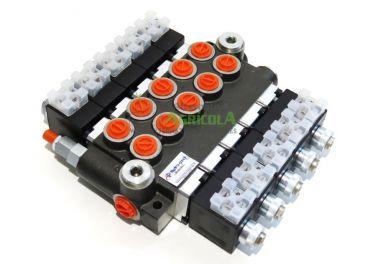 """Distribuidor Hidráulico eléctrico 5cuerpos 3/8"""" doble efecto circuito abierto"""